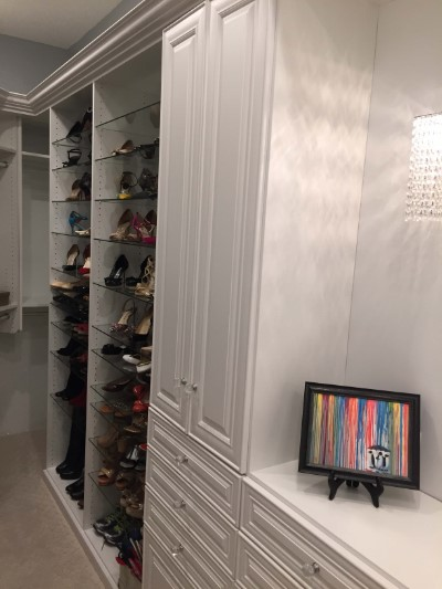 Designer Shoes on Glass Shelves